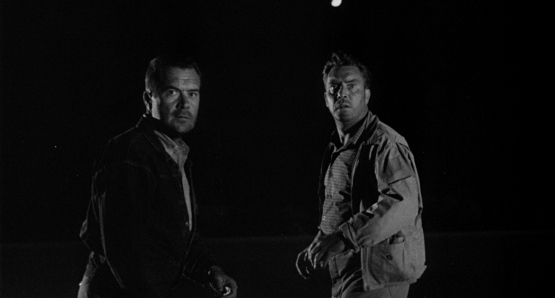 A fraught moment for Frank Lovejoy and Edmund O'Brien in Ida Lupino's THE HITCH-HIKER.