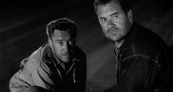 Edmund O'Brien and Frank Lovejoy cannot shake William Talman's THE HITCH-HIKER.